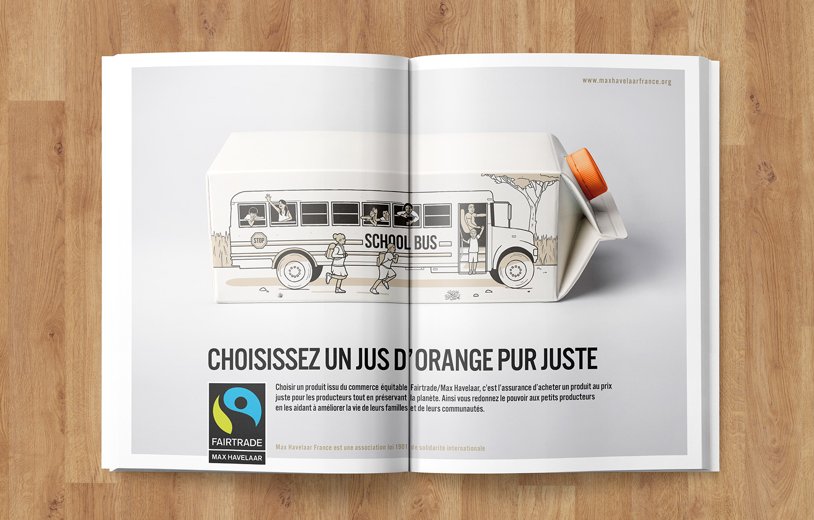 Fairtrade Max Havelaar brique jus d'orange publicité presse Notchup