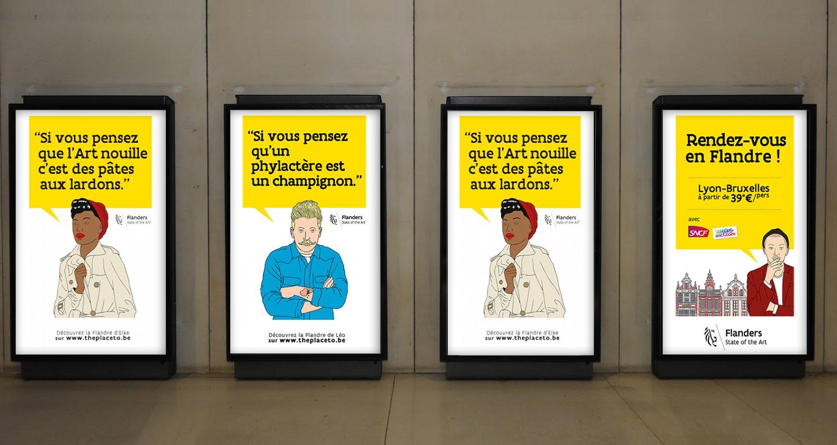 Campagne 4 Flamands Flandre affichage digital Notchup