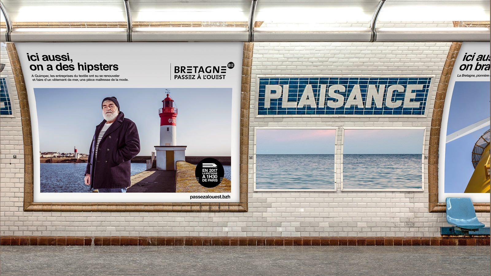 Campagne Passez à l'Ouest affichage métro Notchup
