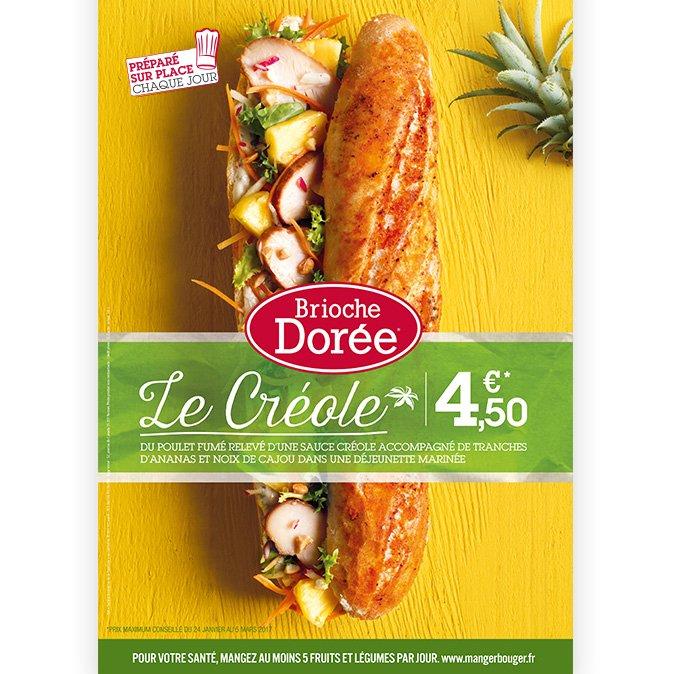 Brioche Dorée PLV sandwich Créole Notchup