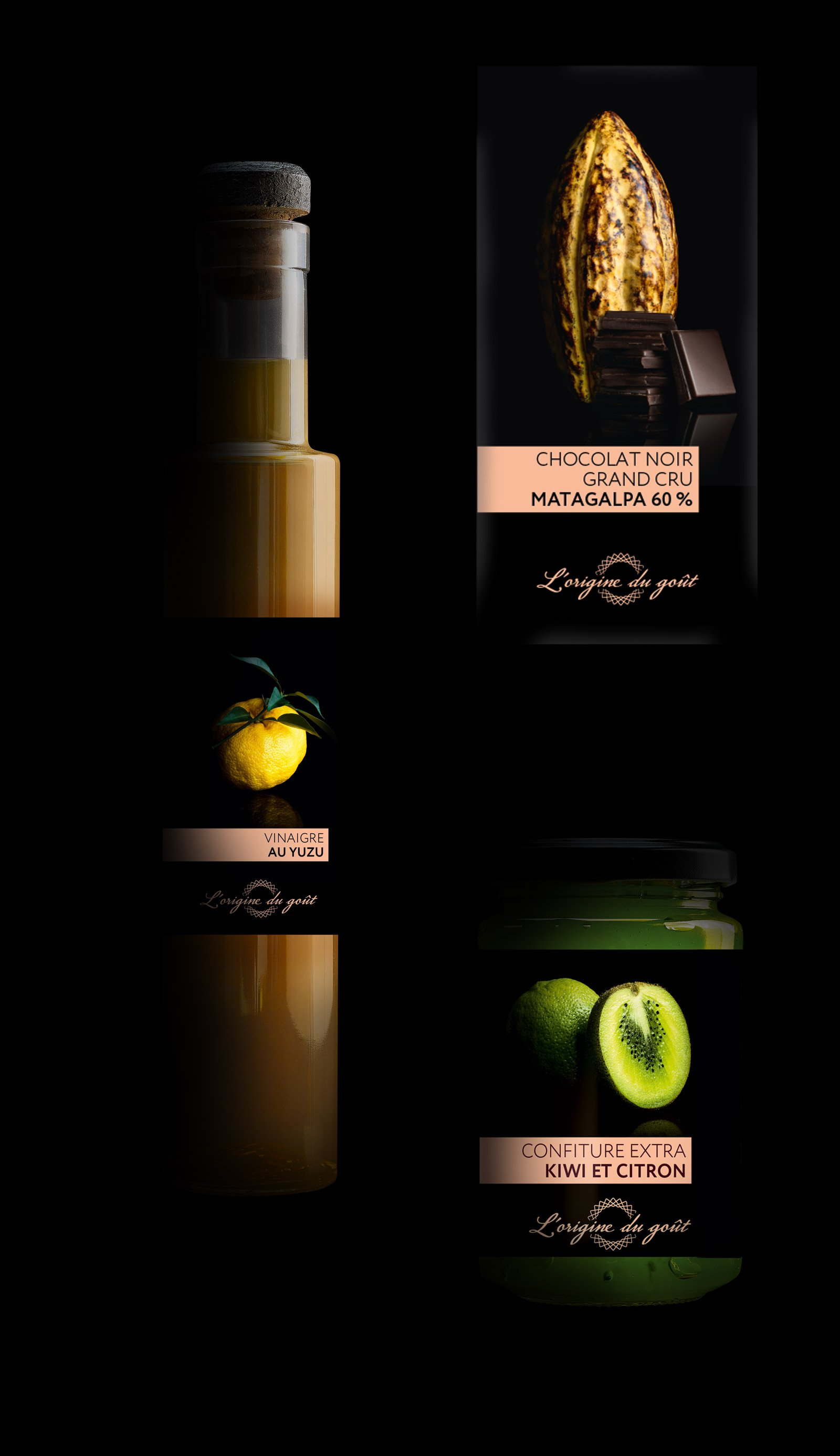 Packaging kiwi citron yuzu chocolat Origine du Goût Scamark Leclerc Notchup