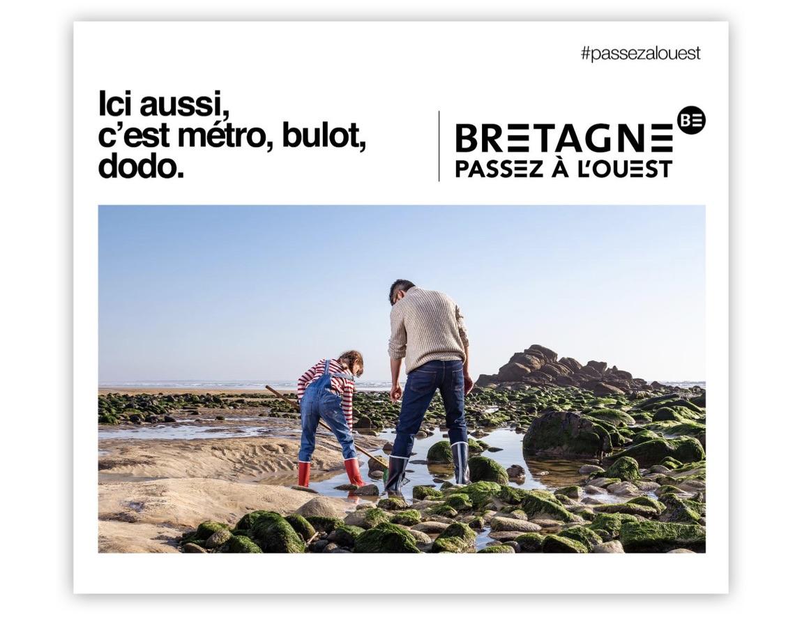 Notchup campagne publicité Région Bretagne Passez à L'Ouest avec père fille pêche à pied metro bulot dodo 2019