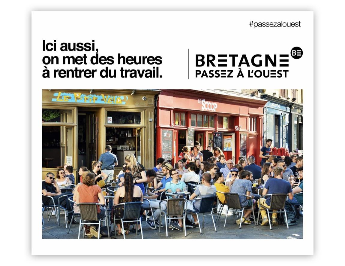 Notchup campagne publicité Région Bretagne Passez à L'Ouest avec terrasses bars rennes