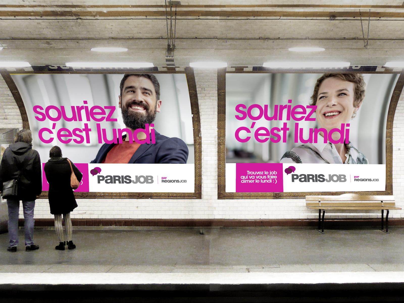 Regionsjob Notchup campagne affichage digital Souriez c'est lundi recrutement