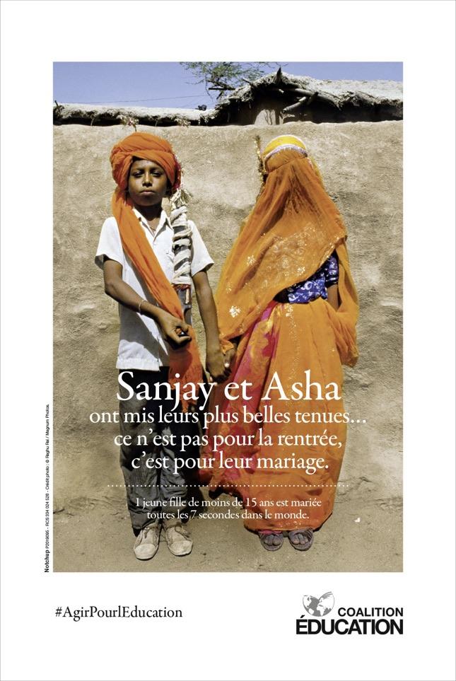 Coalition Education Notchup campagne sensibilisation accès droit éducation enfant G7 Affiche mariage forcé © Raghu Rai / Magnum