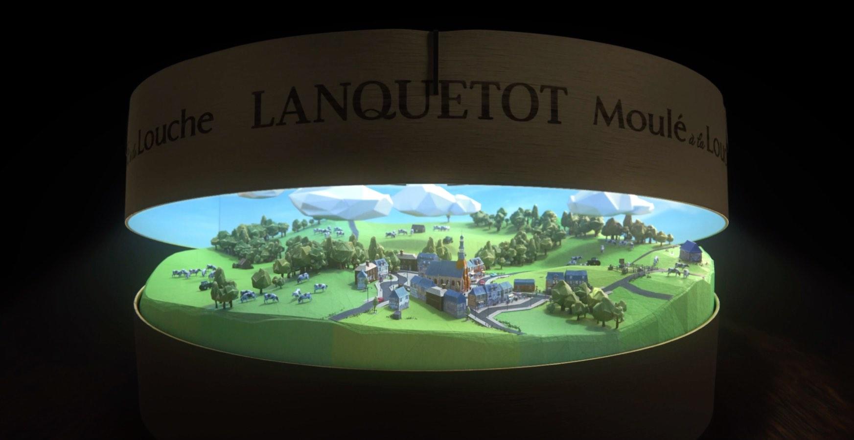 Lanquetot pub TV sponsoring billboard Notchup camembert illustration 3D